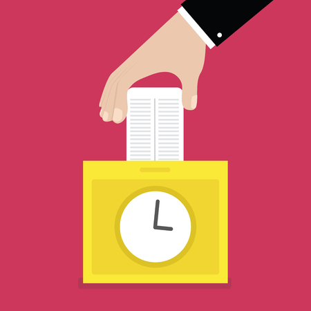 timecard: Hand putting card in time clock recorder. vector Illustration