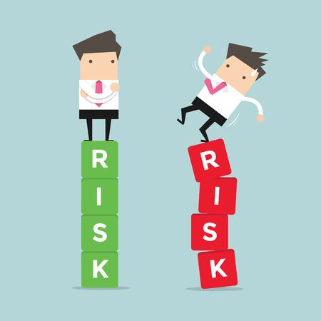 la gestion des risques d'affaires de la différence entre un homme d'affaires succès et l'échec. vecteur Vecteurs