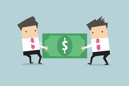 Zwei Geschäftsleute ziehen, den Dollar zu einander. Vektor