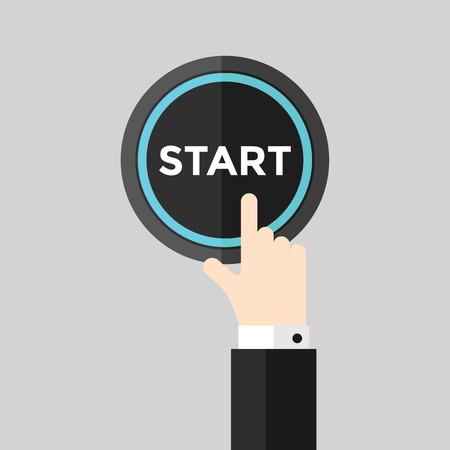 Hand pushing start button. vector Vector Illustration