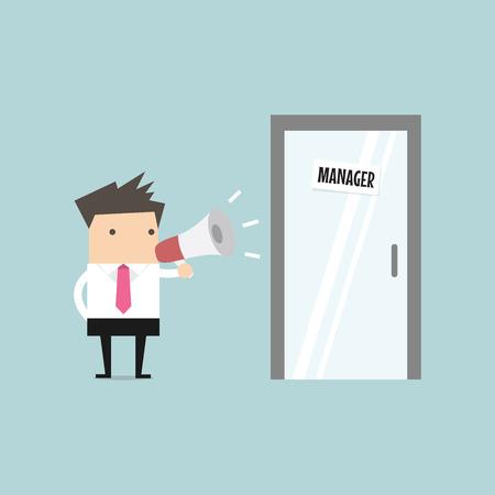 Businessman shouting through megaphone outside manager room. vector Vector Illustration