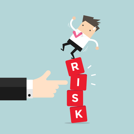 Businessman standing on shaky risk blocks by hand of manager. vector
