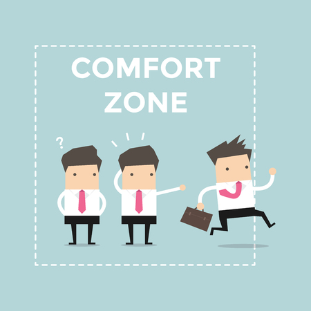 happy employees: Businessman exit from comfort zone. vector