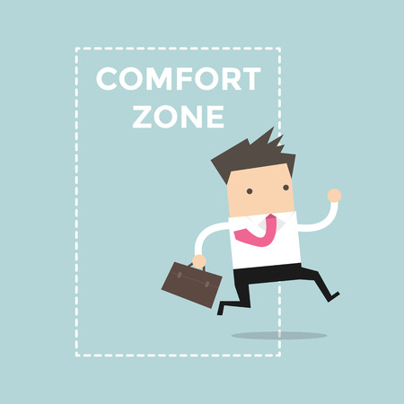 comfort: Businessman jumping out of the comfort zone to success. Vector Illustration