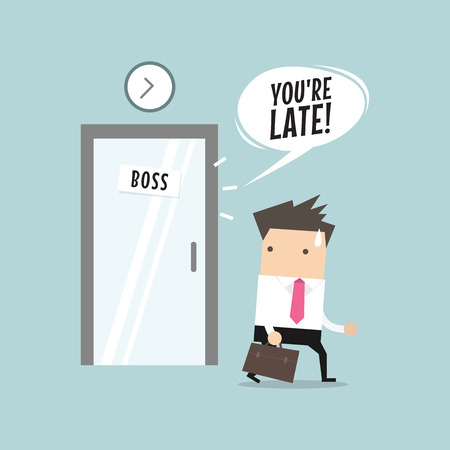 admonish: Businessman working late. Walking through the boss room and was warned by boss. vector