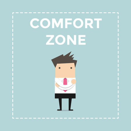 uneasiness: Businessman standing in comfort zone. vector