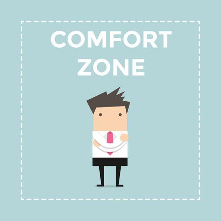 skepticism: Businessman standing in comfort zone. vector