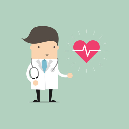 Doctor standing with sign of heartbeat. vector Illustration