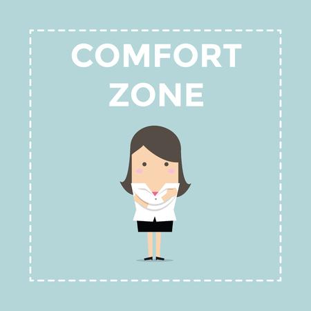 Businesswoman standing in comfort zone. vector Illusztráció