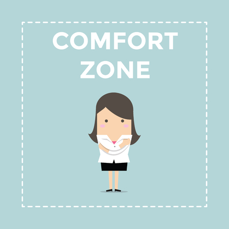 businesswoman standing: Businesswoman standing in comfort zone. vector Illustration
