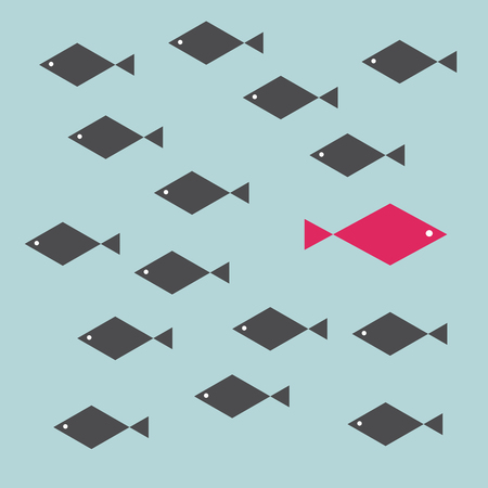One red unique different fish swimming opposite way of identical black ones. Courage, confidence, success, crowd and creativity concept. Illustration