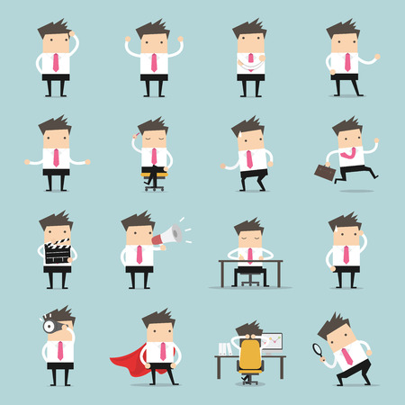 Set of business people. Businessman walking to the success, businessman is in different situations. Vector illustration. Stock Illustratie