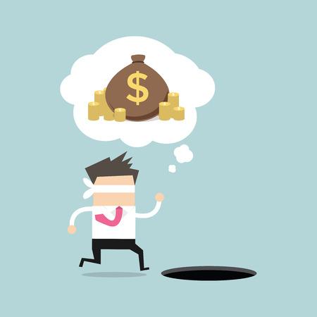 Geblinddoekt zakenman loopt om geld te vinden met pit gat. vector Vector Illustratie