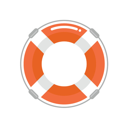 Lifebuoy in a flat style. Protection equipment for swimming. Summer sea holidays. Vector illustration. Illustration