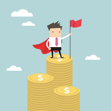 Businessman with winners flag standing on money coin. vector