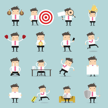 Set of business people. Businessman is in different situations. Vector illustration. Stock Illustratie