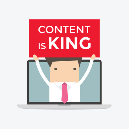notebook design: Businessman holding Content is King sign in computer notebook, seo search engine optimization and content marketing concept