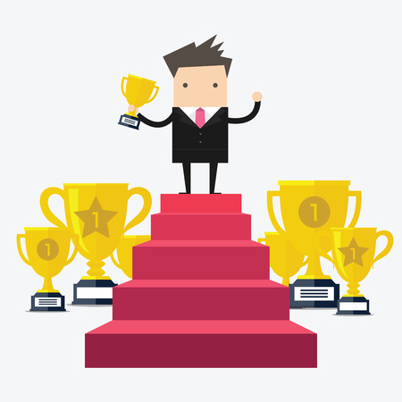 Businessman Walking Up Stairs, Concept Success Businessman Win Price. Vector Illustration Illustration
