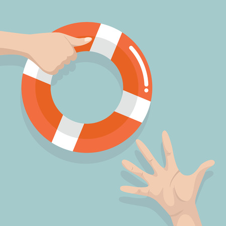 Drowning people getting lifebuoy from another people.