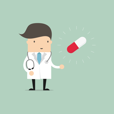 Doctor standing with pill capsule. vector