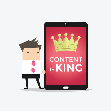 contents: Businessman with tablet words CONTENT IS KING, seo search engine optimization and content marketing concept