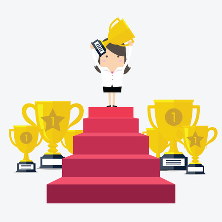 recompense: Success businesswoman character standing in a podium holding up a trophy as she celebrates her victory vector illustration.