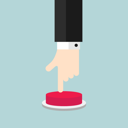 Businessman hand and pressing the red button.
