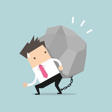 tiring: Businessman carrying a big rock vector