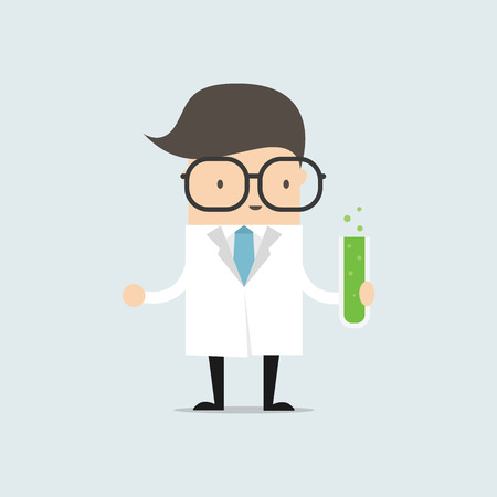 The scientist holding a test tube, holds a chemical experiment. vector