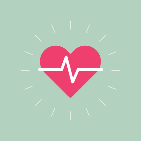 cardiograph: Heart beat pulse flat icon Illustration