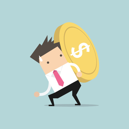 Businessman carrying big and heavy gold coin on his back. vector