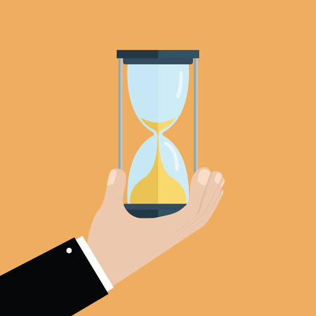 hour hand: Businessman hand holds a hourglass. Business and time management concept. vector Illustration