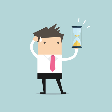 Businessman holding sandglass or hourglass, looking and realise it's nearly time up or deadline. vector