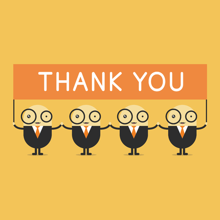 office worker: Businessman cartoon holding thank you sign. vector Illustration