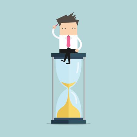 El hombre de negocios sigue pensando y sentado en un reloj de arena, pensamiento creativo. vector Foto de archivo - 67673059