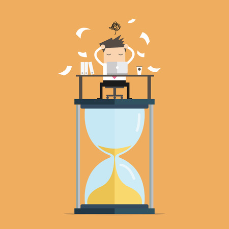computer work: Businessman work hard at computer on big sand clock deadline concept. vector Illustration