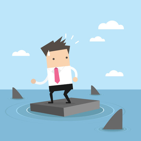 Businessman standing on briefcase In the sea and surrounded by sharks. vector