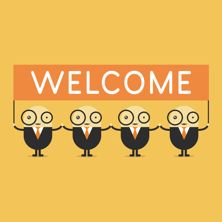 happy business team: Businessman cartoon holding welcome sign. vector