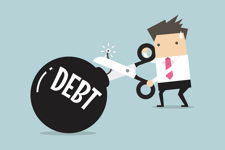 債務の爆弾、債務をカットするはさみを持っているビジネスマンの手を切断します。ベクトル