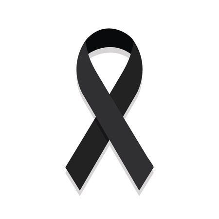 black belt: Black ribbon mourning sign. vector Illustration