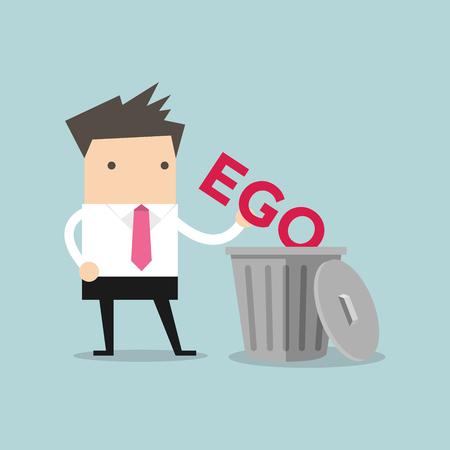 Businessman throw his ego into the trash vector Illustration