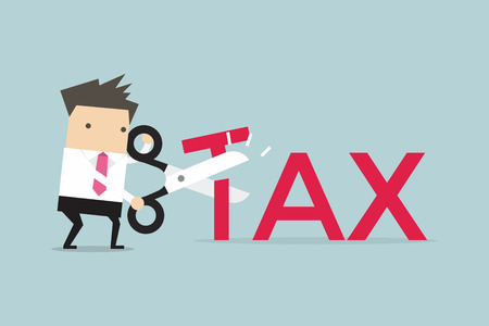 Businessman with scissors cutting big T letter vector illustration. Reduce Tax Business concept. Stock Illustratie
