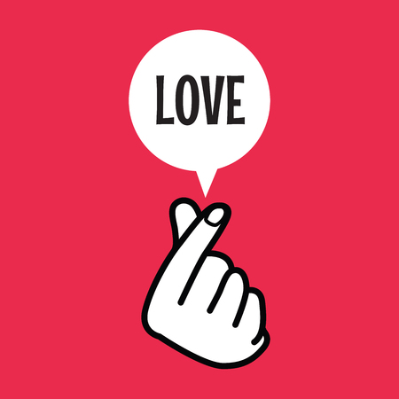 Finger heart sign symbol with love balloon text. vector