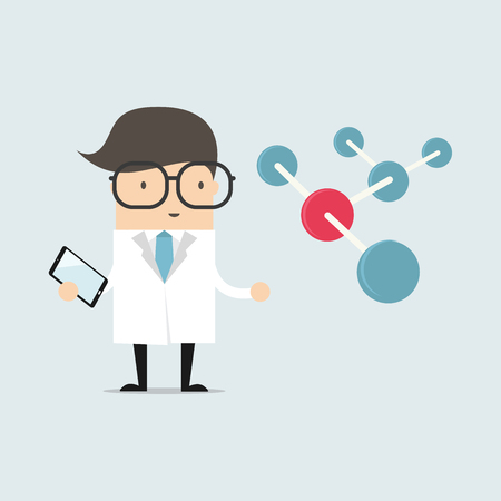 mathematician: Scientist with big molecule and tablet vector