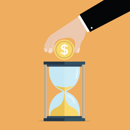 workaholic: Time is money, savings and investments concept, Businessman with hourglass. vector Illustration