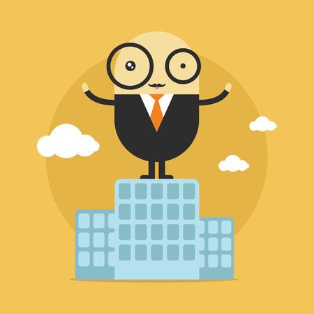 Businessman stand on top of building. City skyline. Success concept. Cartoon Vector