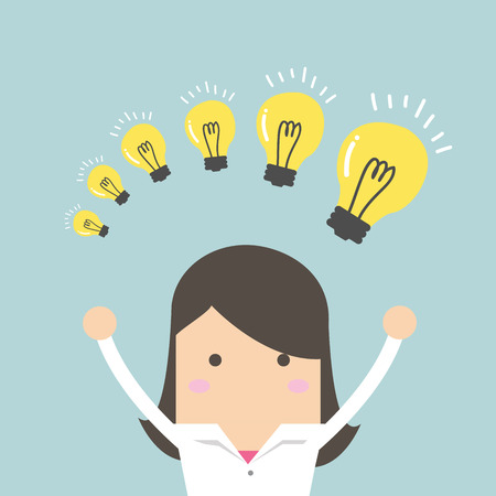 concept and ideas: Businesswoman with different size of idea bulbs vector