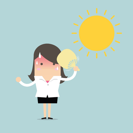 Businesswoman very hot with folding fan blow and the sun  イラスト・ベクター素材