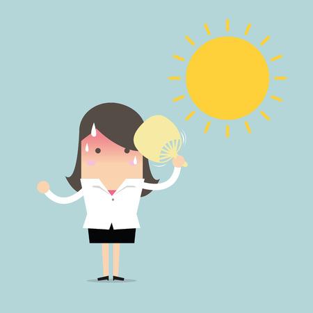 Zakenvrouw zeer warm met vouwen fan klap en de zon