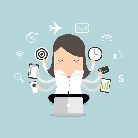 multi tasking: Businesswoman with multitasking and multi skill vector.